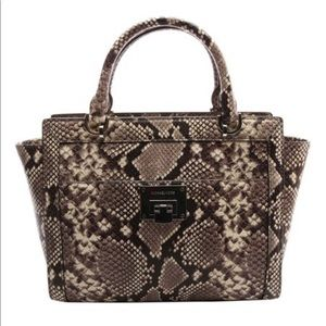 NWT Michael Kors  Snake-Embossed  Leather Satchel